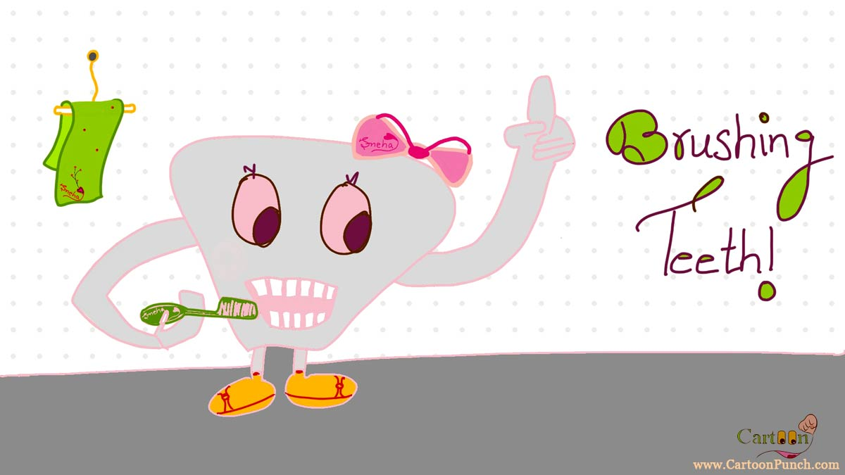 A tooth brushing teeth with tooth brush in bathroom cartoon by sneha