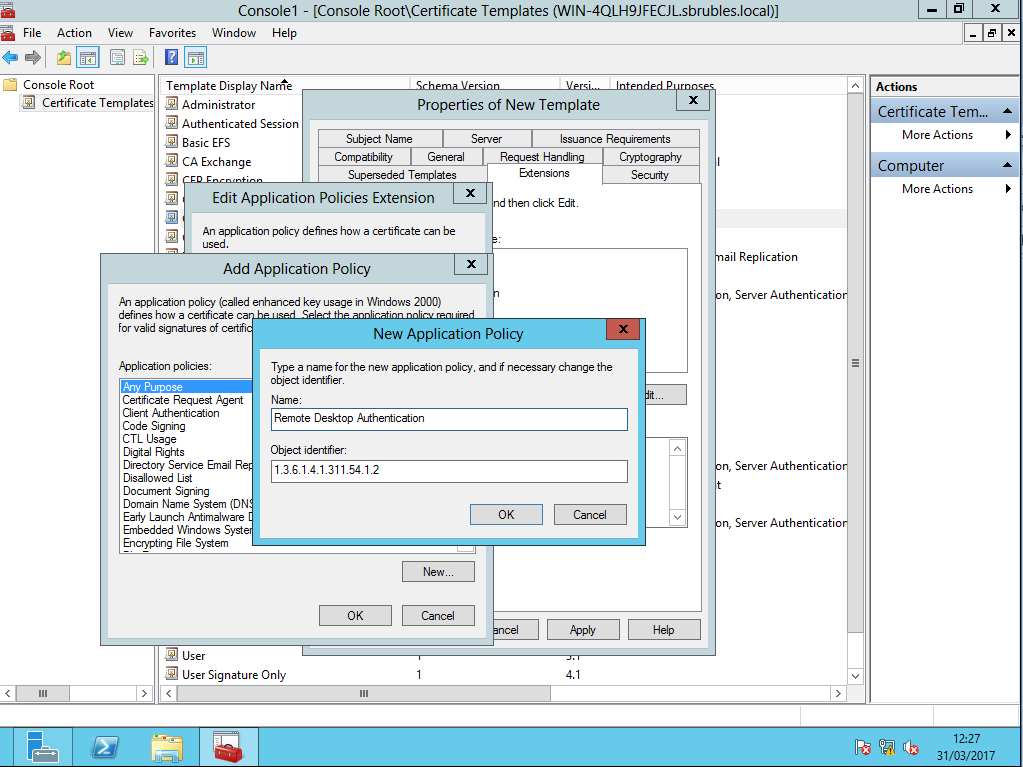 Criando e replicando um template de certificao digital passo a em object identifier 1361413115412 yelopaper Choice Image