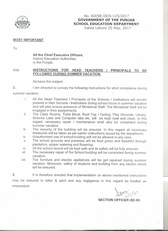 INSTRUCTIONS FOR HEAD TEACHERS / PRINCIPALS TO BE FOLLOWED DURING SUMMER VACATIONS