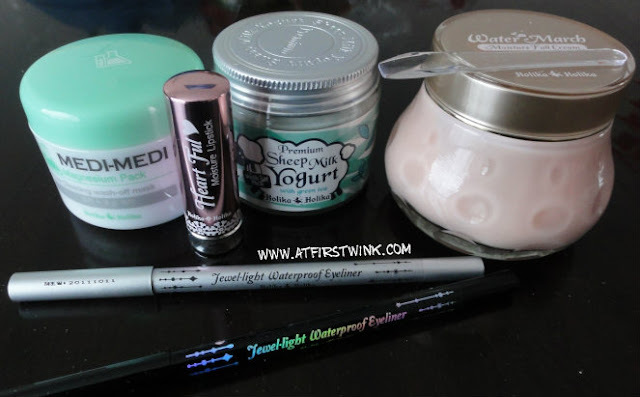 Holika Holika creams, heart ful lipstick, and jewel light waterproof eyeliners