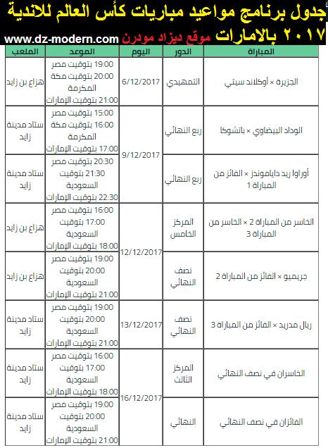 جدول برنامج مباريات كاس العالم للأندية الإمارات 2017/2018 موندياليتو ابو ظبي