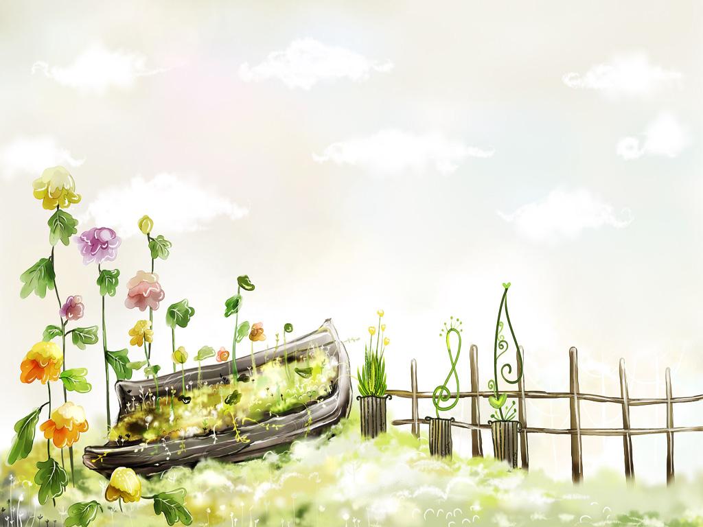 Flower garden cartoon - Colorful Flower Garden Cartoon