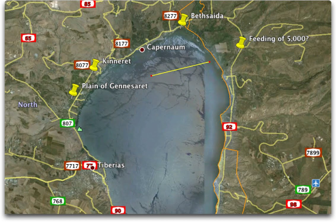 The Land and the Book: Where did Jesus walk on the water? Gennesaret Map on dead sea map, golgotha map, mount of beatitudes map, bethany map, sea of tiberias map, mount of olives map, gethsemane map, abilene map, capernaum map,