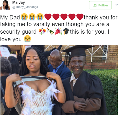 Photo: South African lady shows off her dad who despite being a security officer sent her to University