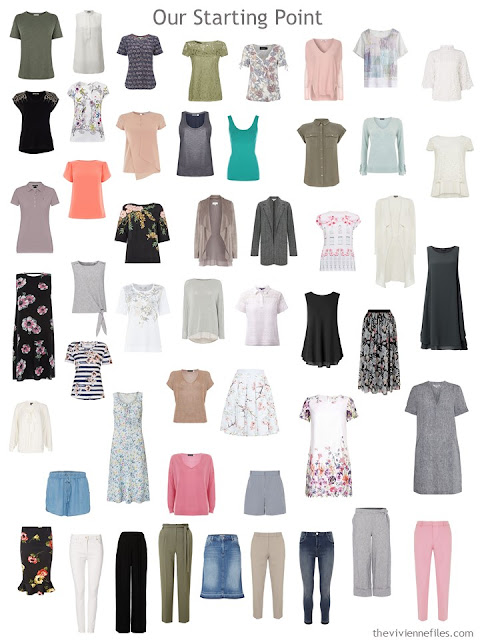 50-piece unsorted, unorganized wardrobe