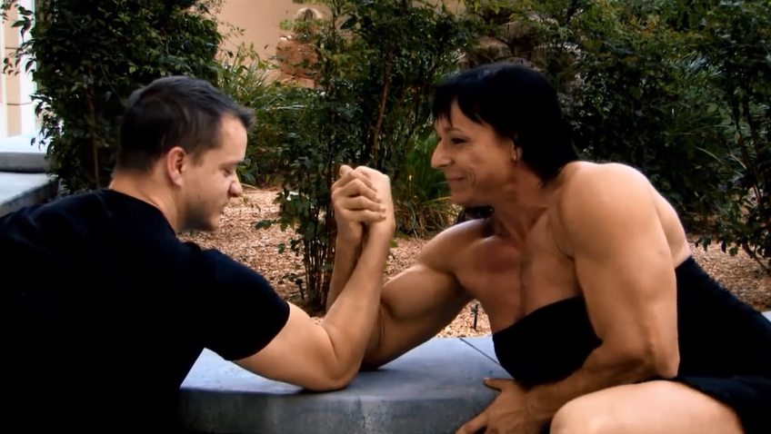 Strong woman mixted armwrestling