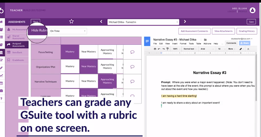 Grade Items in G Suite Side-by-Side With Otus Rubrics
