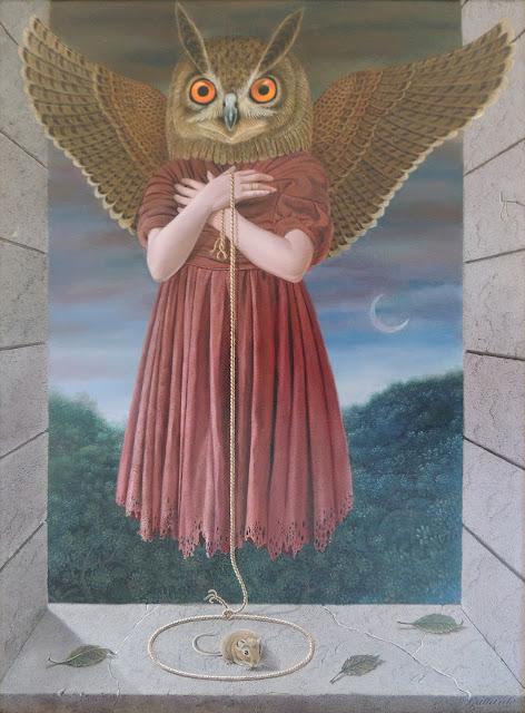 Gervasio Gallardo buho surrealismo óleo lienzo