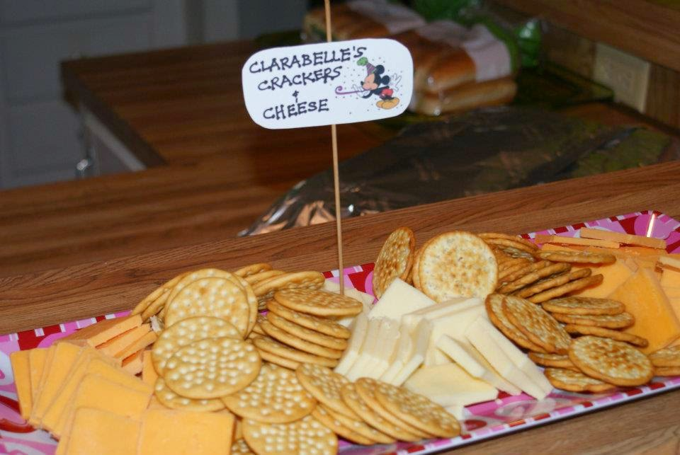 Clarabelle's Crackers and Cheese for a Mickey Mouse themed birthday party!