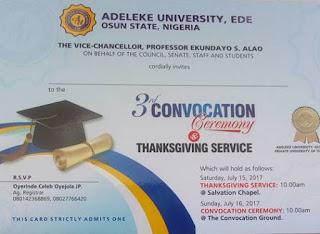 Adeleke University 3rd convocation ceremony