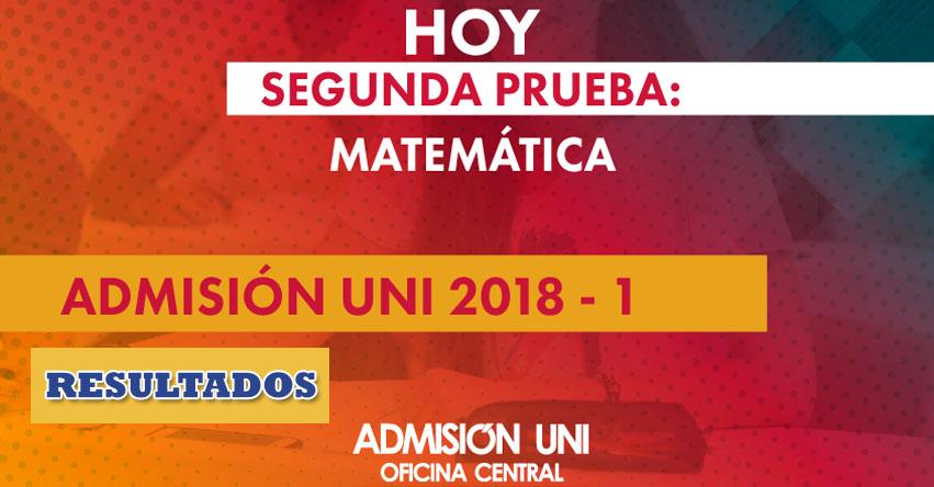 UNI: Resultados Examen Admisión 2018-1 (Miércoles 14 Febrero) Lista de Ingresantes Segunda Prueba de Matemática - www.admision uni.edu.pe