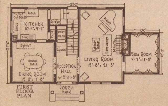 First floor layout of the Sears Rembrandt, 1925 Sears Modern Homes catalog