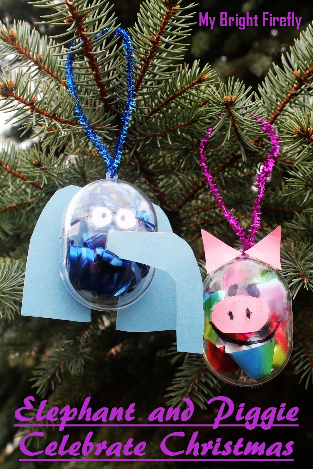 My Bright Firefly Elephant And Piggie Christmas Ornaments