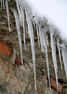 Flat roof building icicles