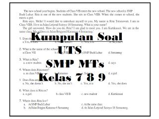 Download Kumpulan Soal UTS SMP MTs Kelas 7 8 9