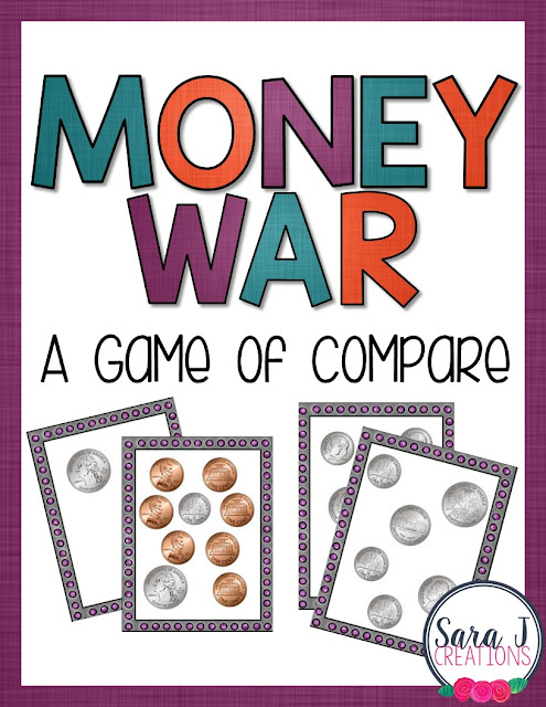 Free cards to play money war - a game of compare.  Great way to practice counting coins!