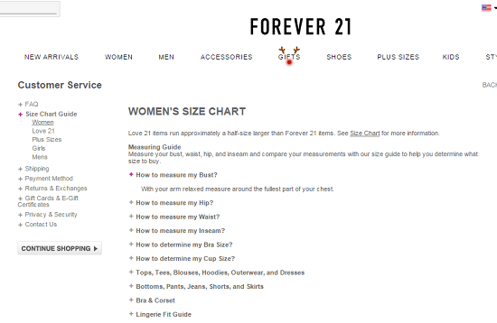Screen from forever also size chart guide by different apparel brands for men and women rh onlineclothingstudy