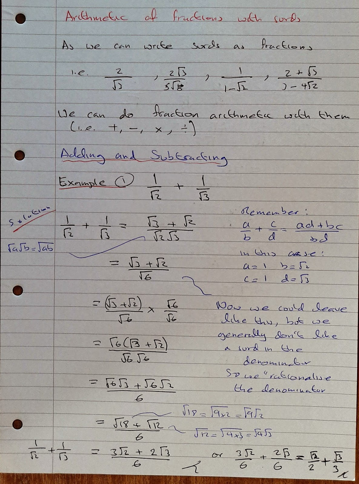 A Level Maths Notes As Surds Adding And Subtracting Surd Fractions Part 1