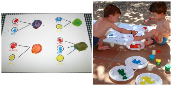 pintar y mezclar colores, actividad inspirada cuentos hervé tullet
