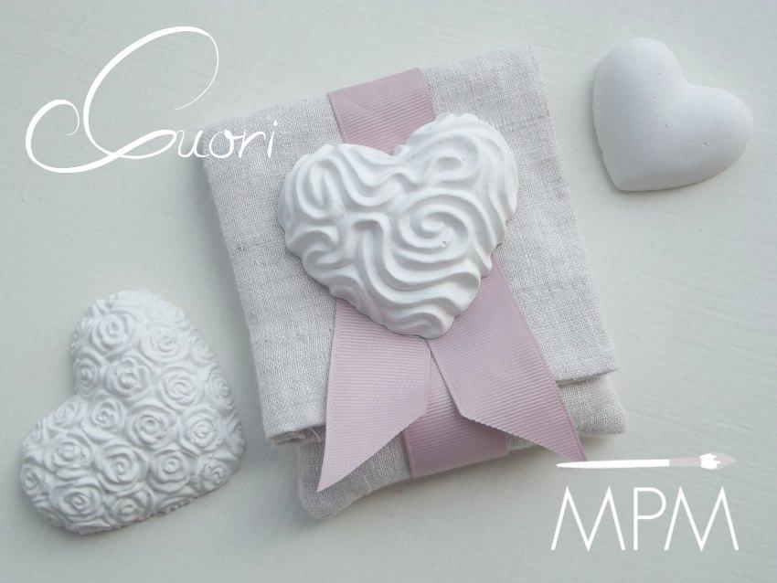 Bustina doppia in lino con lavanda essiccata e gessetto