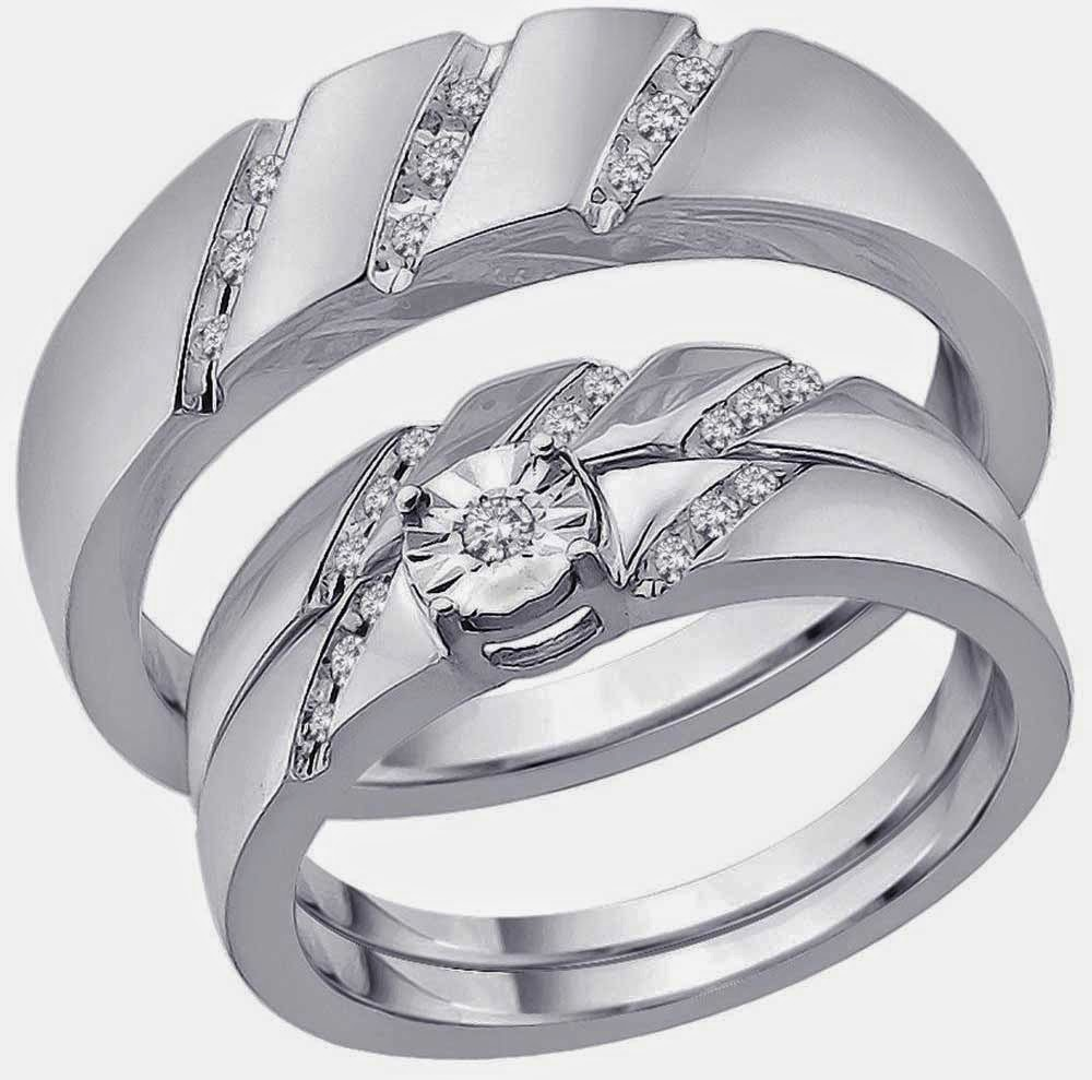 His and Hers Trio Wedding Ring Sets Under 500 Dollars Images