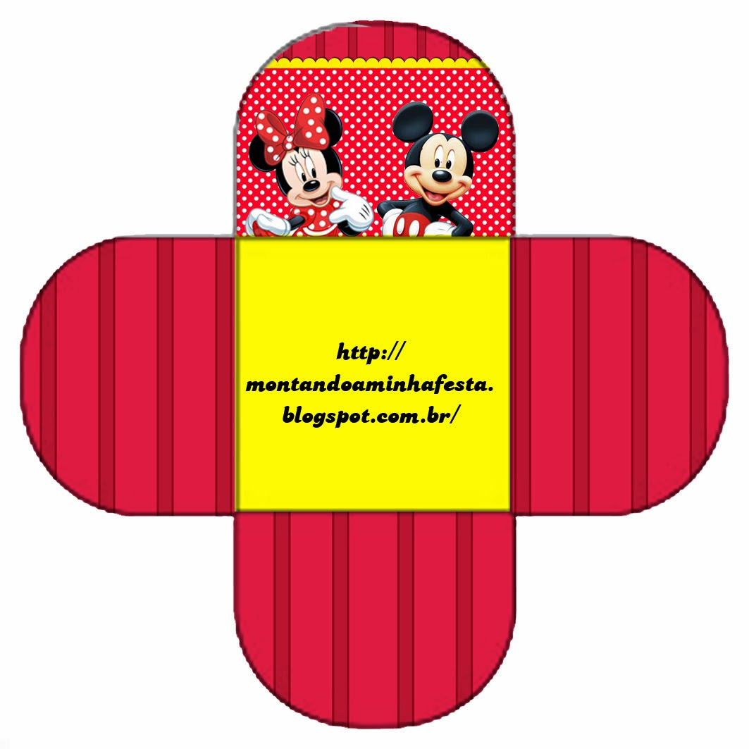 Caja Gratis de Mickey y Minnie para pastelitos, chocolates o mazapanes.