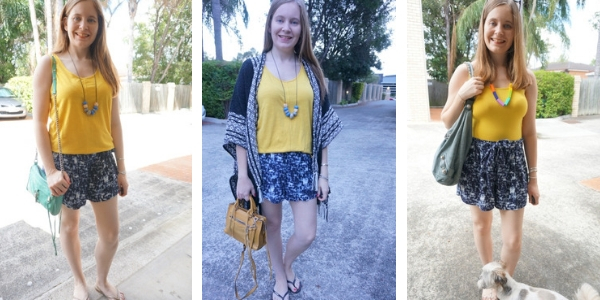 colourful outfit combo blue printed shorts and yellow tops worn 3 ways | awyafromtheblue