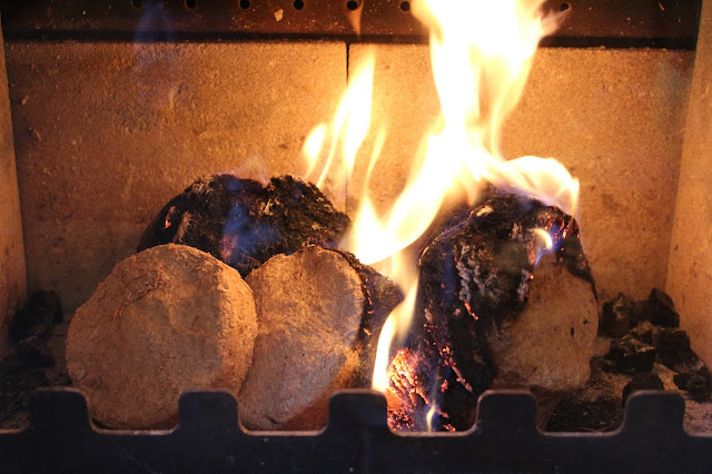 briquettes in log burner
