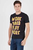 BerryBenka Men Work Hard Play More Tshirt Black ANDHIMIND