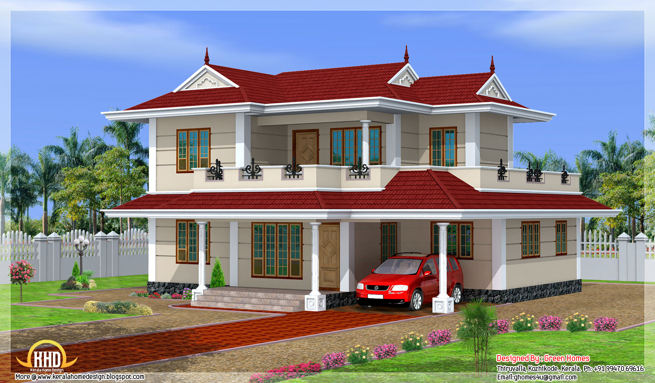 2250 sq ft 4 bhk double storey house design kerala home for Indian small house design 2 bedroom