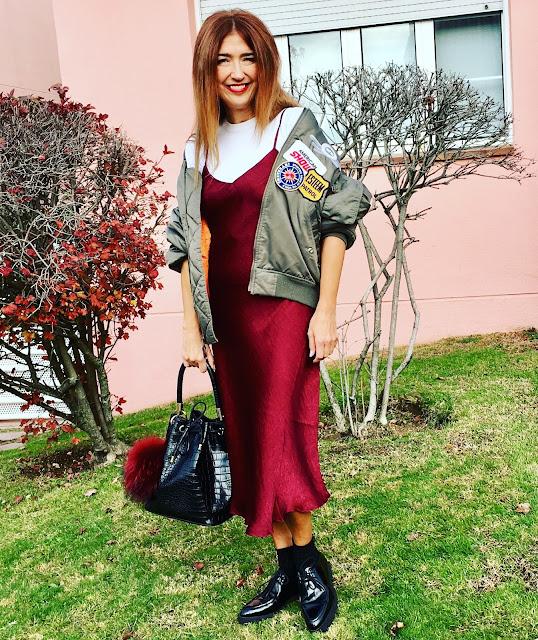 JustFab, Burgundy, Vestido Lencero, Bolso Saco, Bomber, Street Style, Cool, Shopping, Carmen Hummer