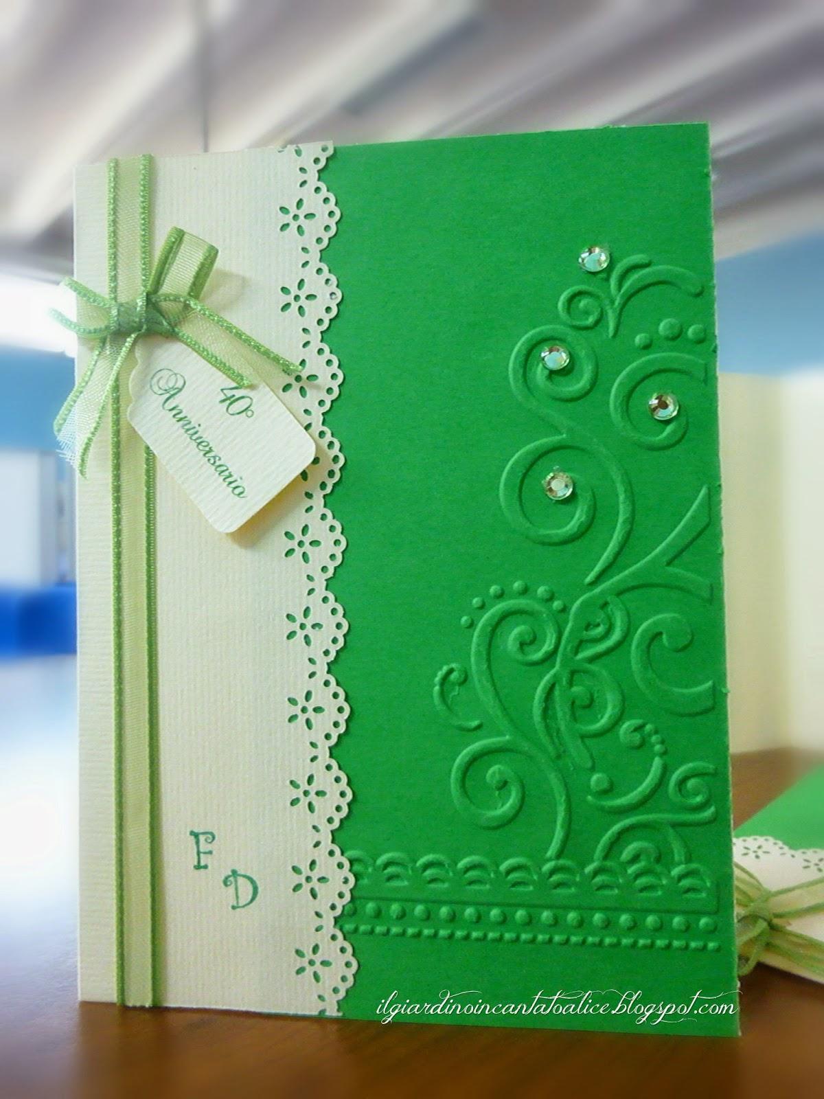 Estremamente Il giardino incantato di Alice: Anniversary cards in green QP18