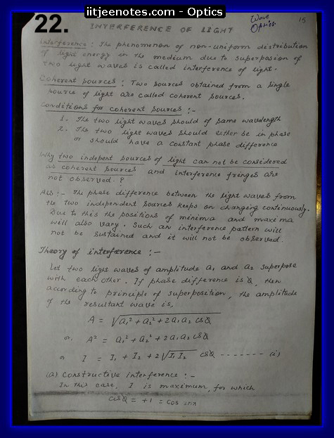 iitjee notes physics