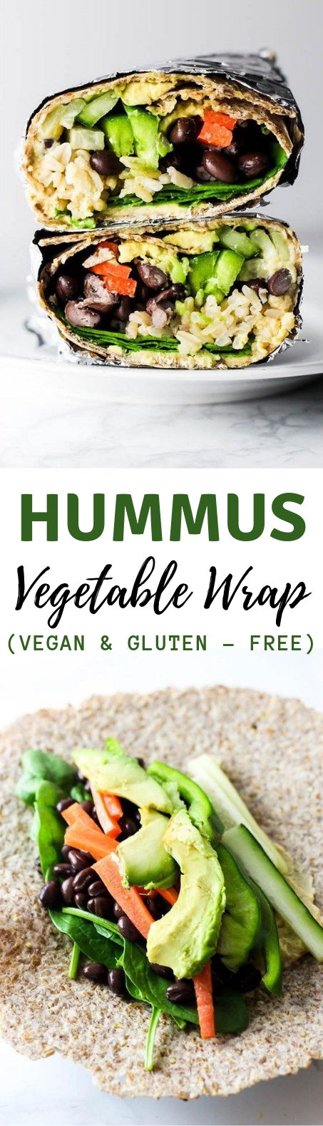 HUMMUS VEGETABLE WRAP #Vegan #Vegetarian