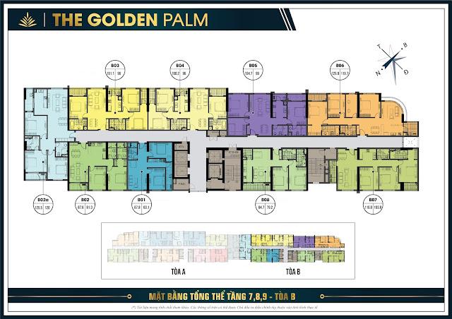 Mặt bằng tầng 7, 8, 9 tòa B The Golden Palm