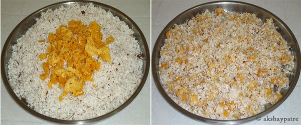 grated fresh coconut and jaggery mixed toit
