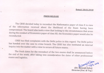 CBSE has released official announcement to re conduct exam