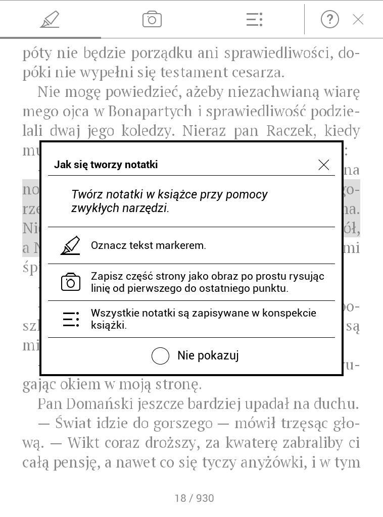 PocketBook Touch Lux 4 – komunikat po włączeniu trybu notatki
