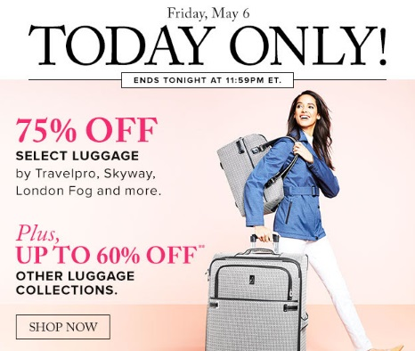 Hudson's Bay 75% off Select Luggage