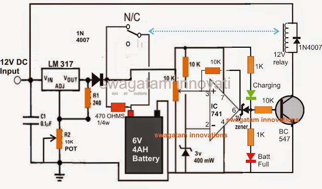 6V 4AH, battery charger circuit with relay and variable voltage LM317