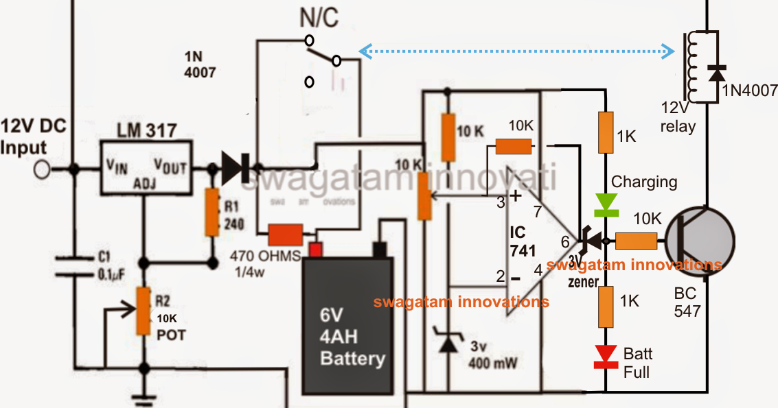battery charger circuit diagram out using transformer battery make a 6v 4ah automatic battery charger circuit out using a on battery charger circuit diagram