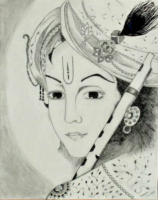 Pencil Drawing- Krishna with flute- on canvas