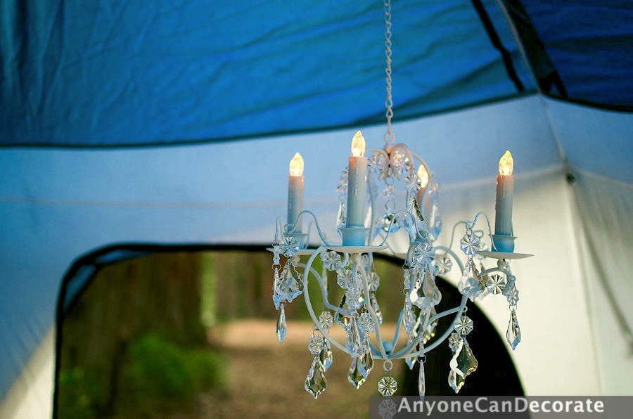 The Battery Operated Lights Even Have A Remote Control Smaller Tent Was Named Stark Bungalow We Managed To Fit Chandelier In Both Tents Proving