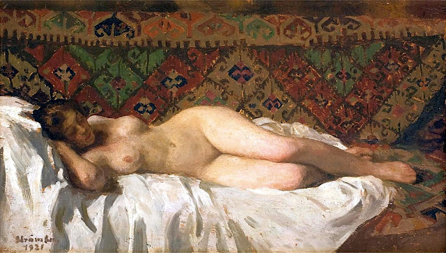 Ipolit Strambu - nudo sdraiato sullo sfondo di un tappeto - erotismo - arte