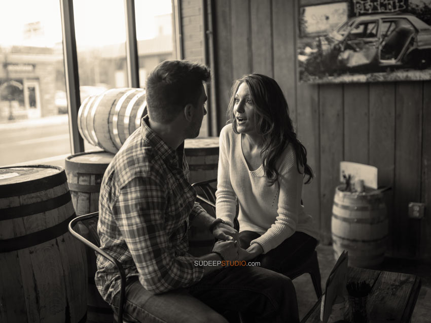 Best Black and White Candid Style Royal Oak Brewery Engagement Pictures - Sudeep Studio.com Ann Arbor Photographer
