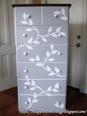 unfinished chest stenciled makeover