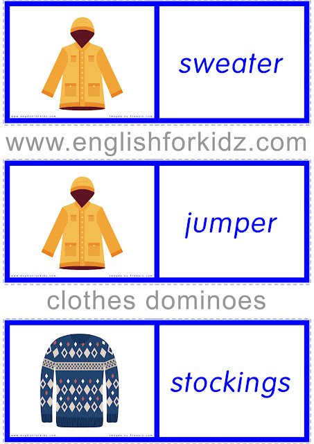 Printable clothes and accessories worksheet - ESL dominoes