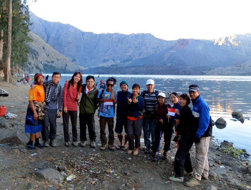 Bertemu teman dari Singapura, Danau Segara Anak, Gunung Rinjani
