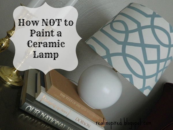 An easy DIY tutorial for how (NOT) to paint a ceramic lamp. This lamp was completely transformed with some spray paint and a new lampshade.