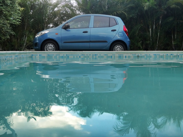 Our Hyundai i10 seen from our pool